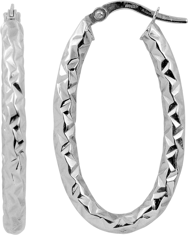 Kooljewelry 10k Gold 25 Sale Special Price mm Hoop Diamond-cut Earrings Limited time trial price Oval