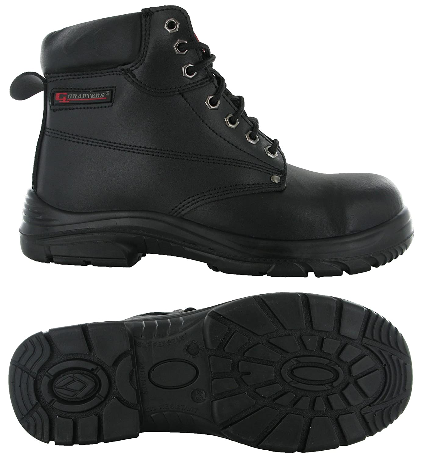 abf1029d7f80 Grafters Wide EEEE Fitting 7 Eye Leather Safety Steel Toe Cap Mens Boots  UK6-14  Amazon.co.uk  Shoes   Bags