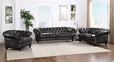 Brilliant Hydeline Newport 100 Leather Set Sofa Loveseat And Chair Gray Frankydiablos Diy Chair Ideas Frankydiabloscom