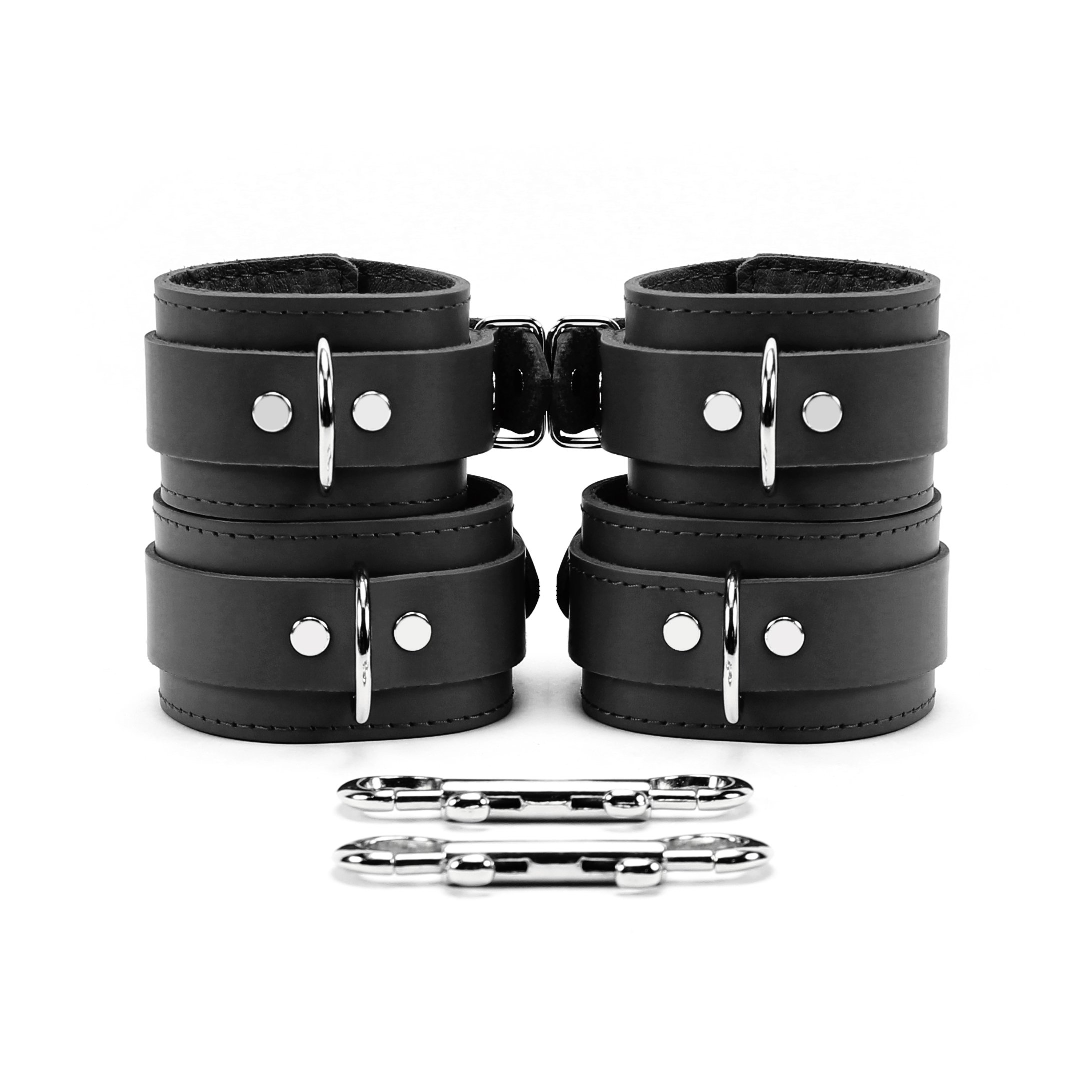 Atlas Wrist and Ankle Cuffs Combo Lambskin Leather Extremely Soft Restraints (Black)