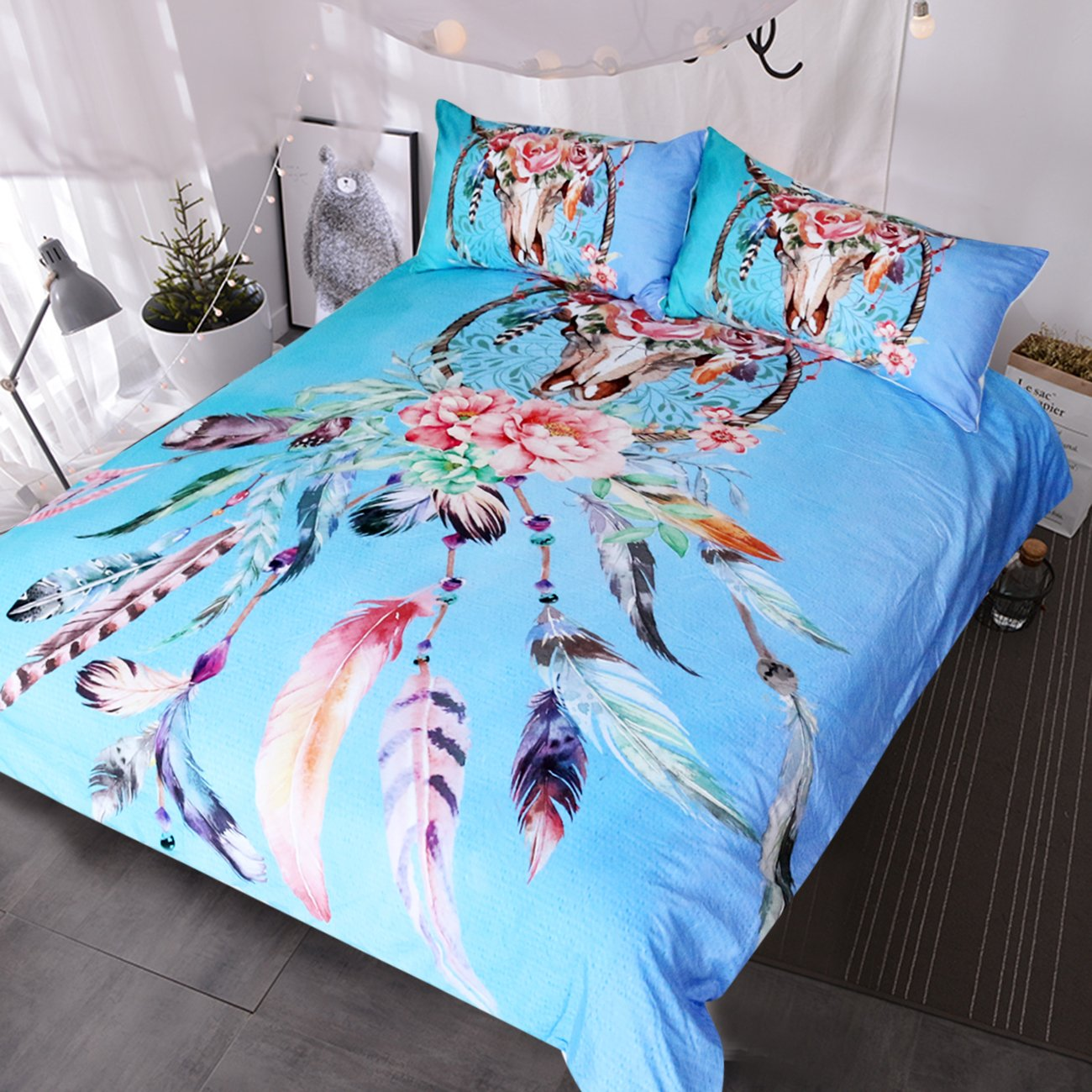 Blessliving Buffalo Skull with Feathers Dreamcatcher Bedding Southwestern Boho Chic Duvet Cover Colorful Tribal Bed Set (Queen, Aqua)