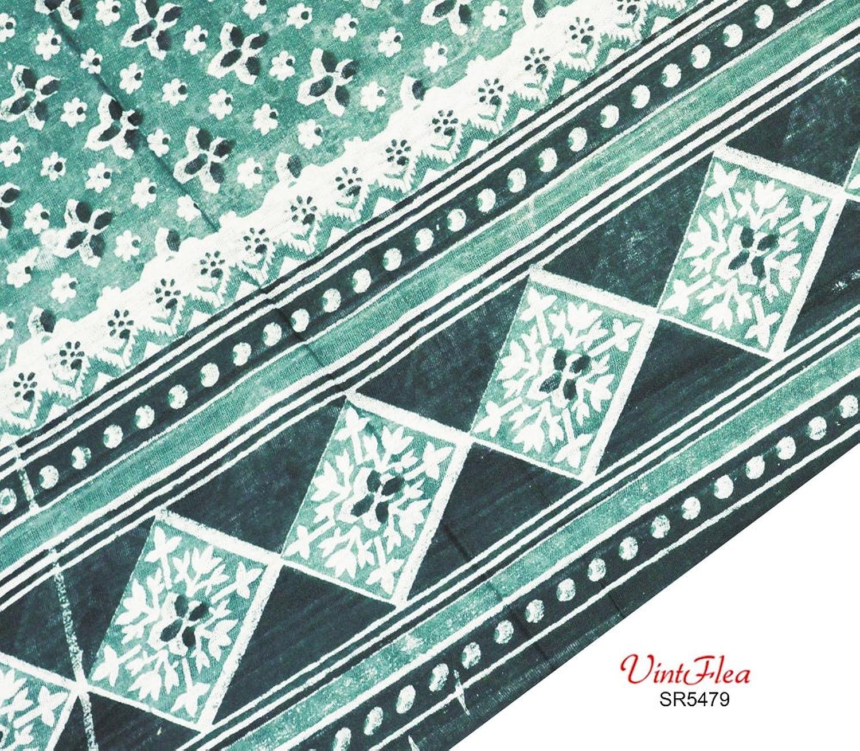 Sari-Stoff aus 100% Baumwolle, Blumendruck, Indian Green Saree Damen ...