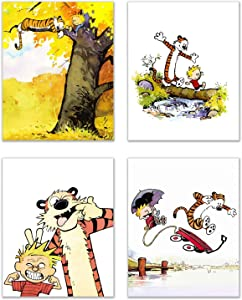 Calvin and Hobbes Photo Prints - Set of 4 (8 inches x 10 inches) Wall Art Decor