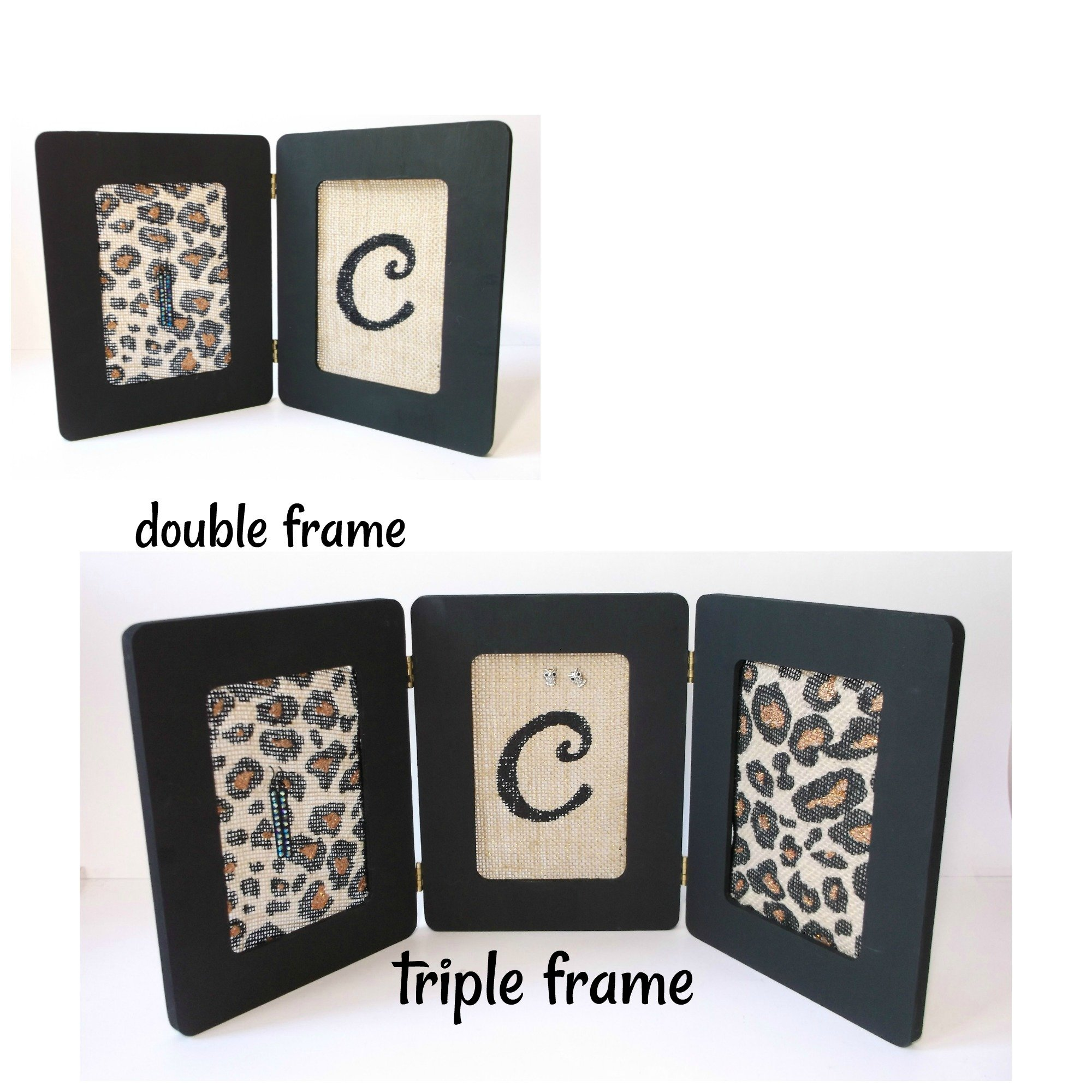 Personalized Double or Triple Black and Copper Glitter Leopard Print Burlap Initial Earring Holder