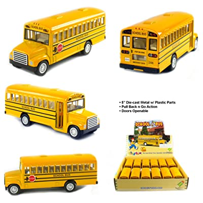 KiNSFUN Novelty Die Cast Classic Long Nose School Bus Pull Back Action 12 Pack: Toys & Games