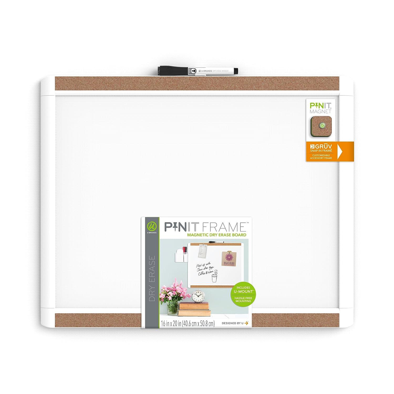 Framed Dry Erase Board Amazoncom U Brands Pin It Magnetic Dry Erase Board 20 X 16