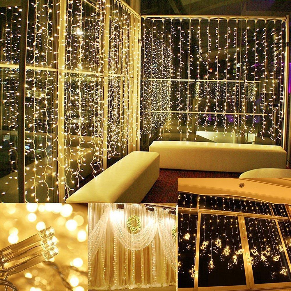 Amazon.com : Curtain Lights, AGPTEK 9.8ft x 9.8ft Solar/Power driver ...