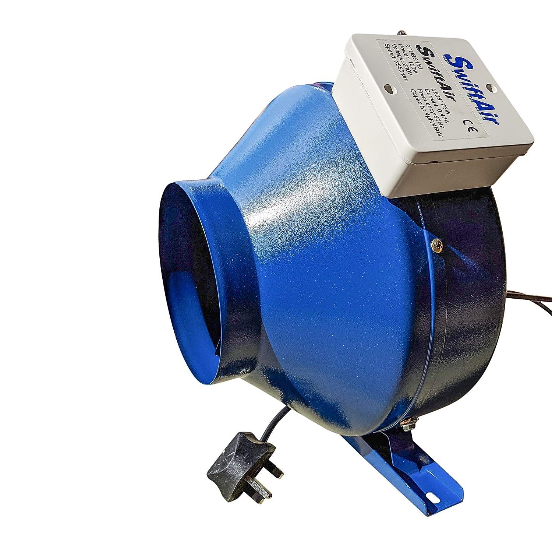 Inline Centrifugal Duct Plug Extractor Hydroponics Bathroom Fan 1500m3/h - All Sizes Swiftair