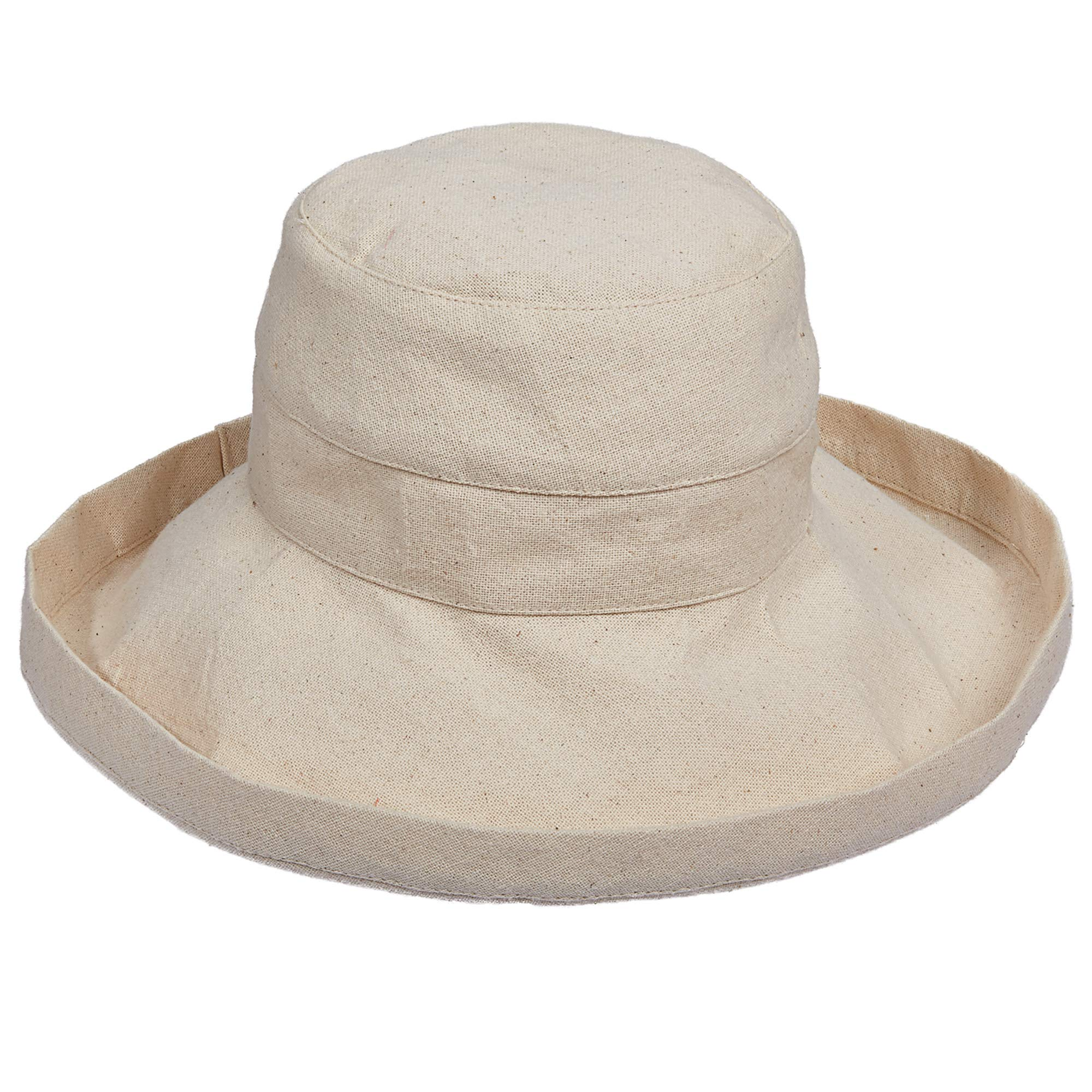Scala Women's Cotton Hat with Inner Drawstring and Upf 50+ Rating,Linen,One Size by SCALA