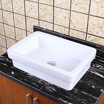Elite Badezimmer Quadratisch Doppelte Schichten Weiß Keramik Porzellan  Schiff Spüle Für Wasserhahn, Eitelkeit