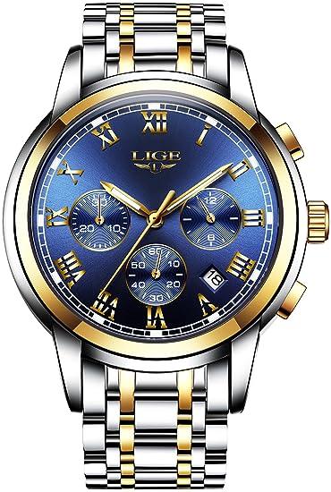 82bec59ac673 Relojes para hombre Relojes analógicos de cuarzo de lujo con correa de  acero con esfera azul