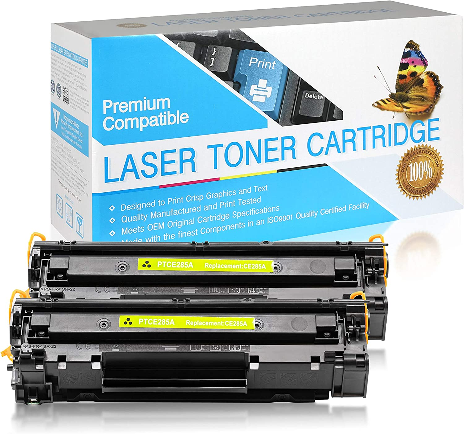 Black,2 Pack SuppliesOutlet Compatible Toner Cartridge Replacement for HP 85A CE285A
