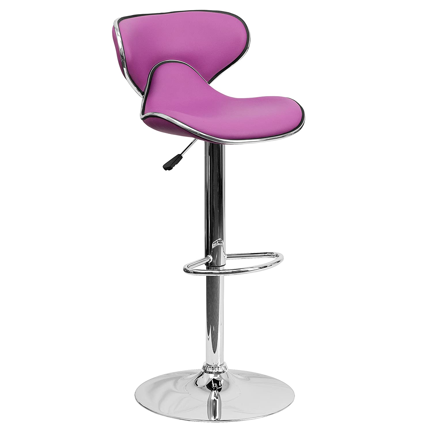 Purple 1 Pack 2 Pk. Contemporary Cozy Mid-Back Black Vinyl Adjustable Height Bar Stool with Chrome Base