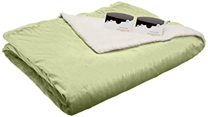 Biddeford 6003-9051136-635 Electric Heated Micro Mink/Sherpa Blanket, Queen, Sage best queen sized electric blanket