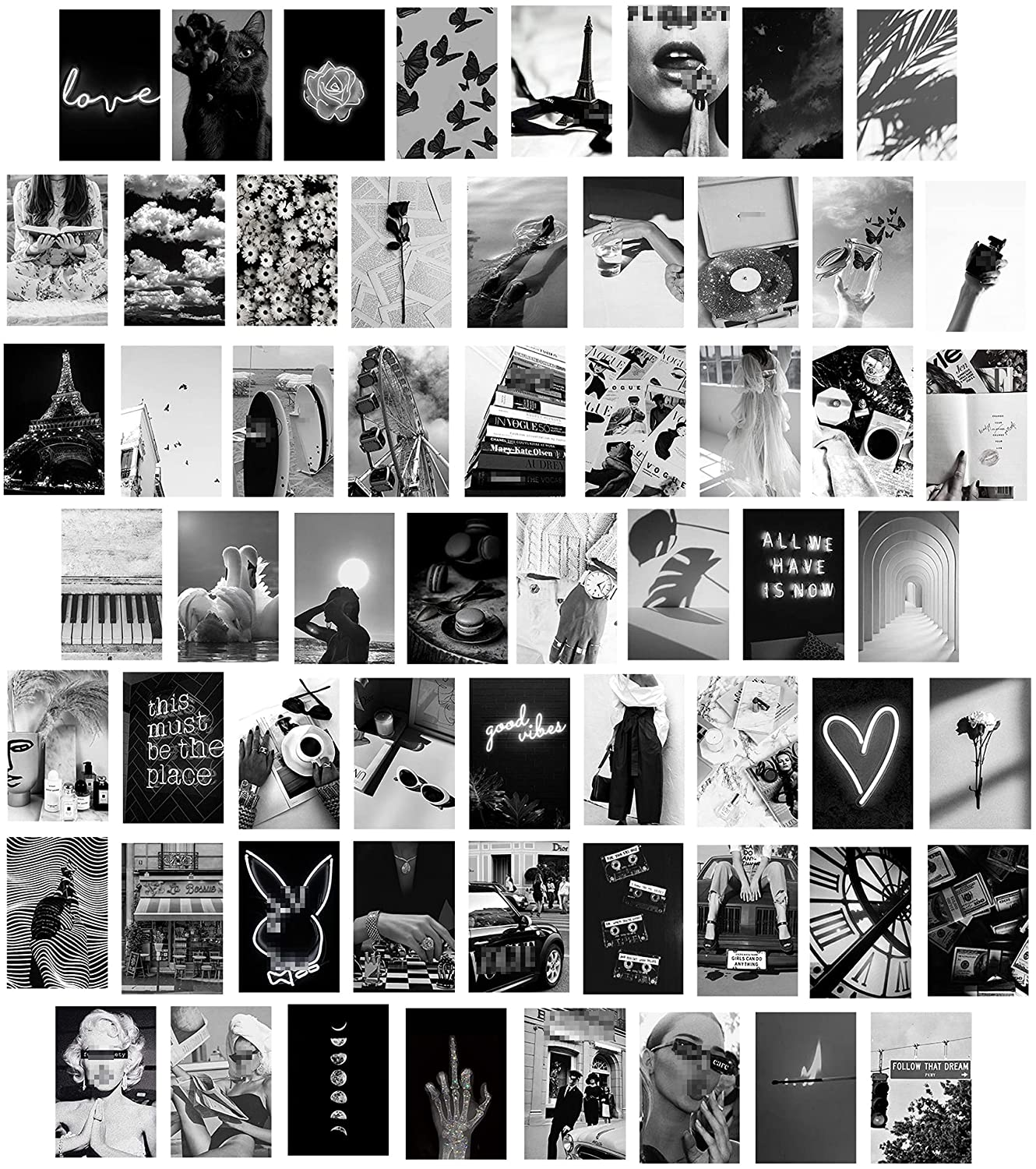 Btaidi White Black Aesthetic Wall Collage Kit, 60 Pieces 4x6 inch, Teen Girls Bedroom Decor, Dorm Wall Decor, Photo Collection