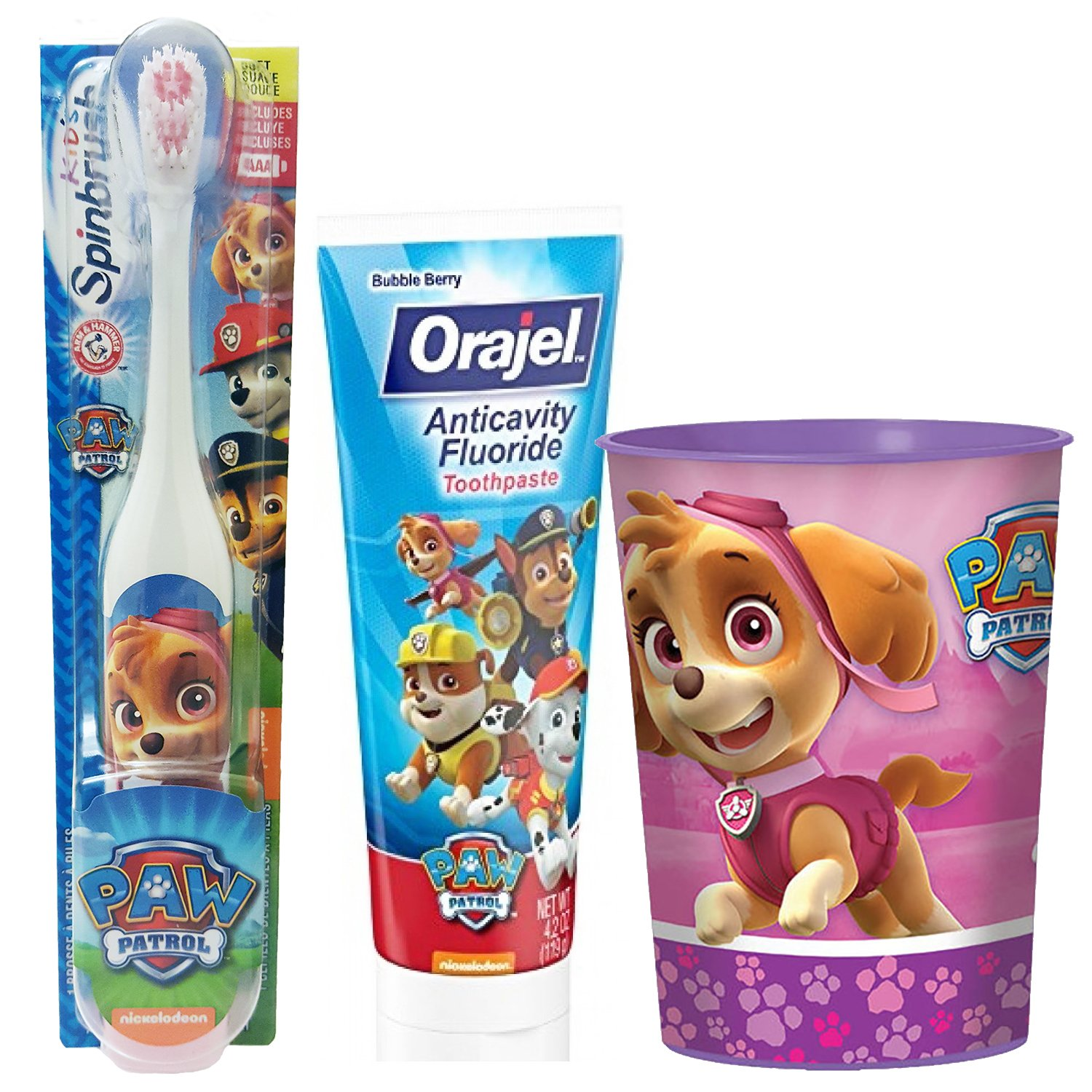 Paw Patrol Skye Toothbrush & Toothpaste Bundle: 3 Items - Spinbrush Toothbrush, Orajel Bubble Berry Toothpaste, Kids Character Rinse Cup