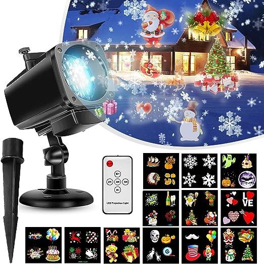 Proyector de Luces Navideñas,Luces Proyector Navidad LED lente 18 ...