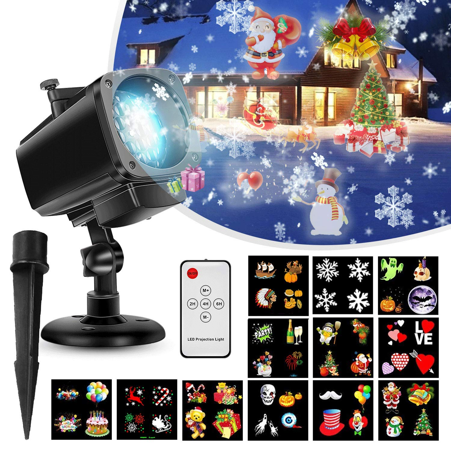 Projector Light,Christmas Lights Projector 18-in-1 Lens Remote Control Waterproof Outdoor/Indoor Holiday Decoration Light for Christmas, Halloween,Party with 12 Slides shenkey
