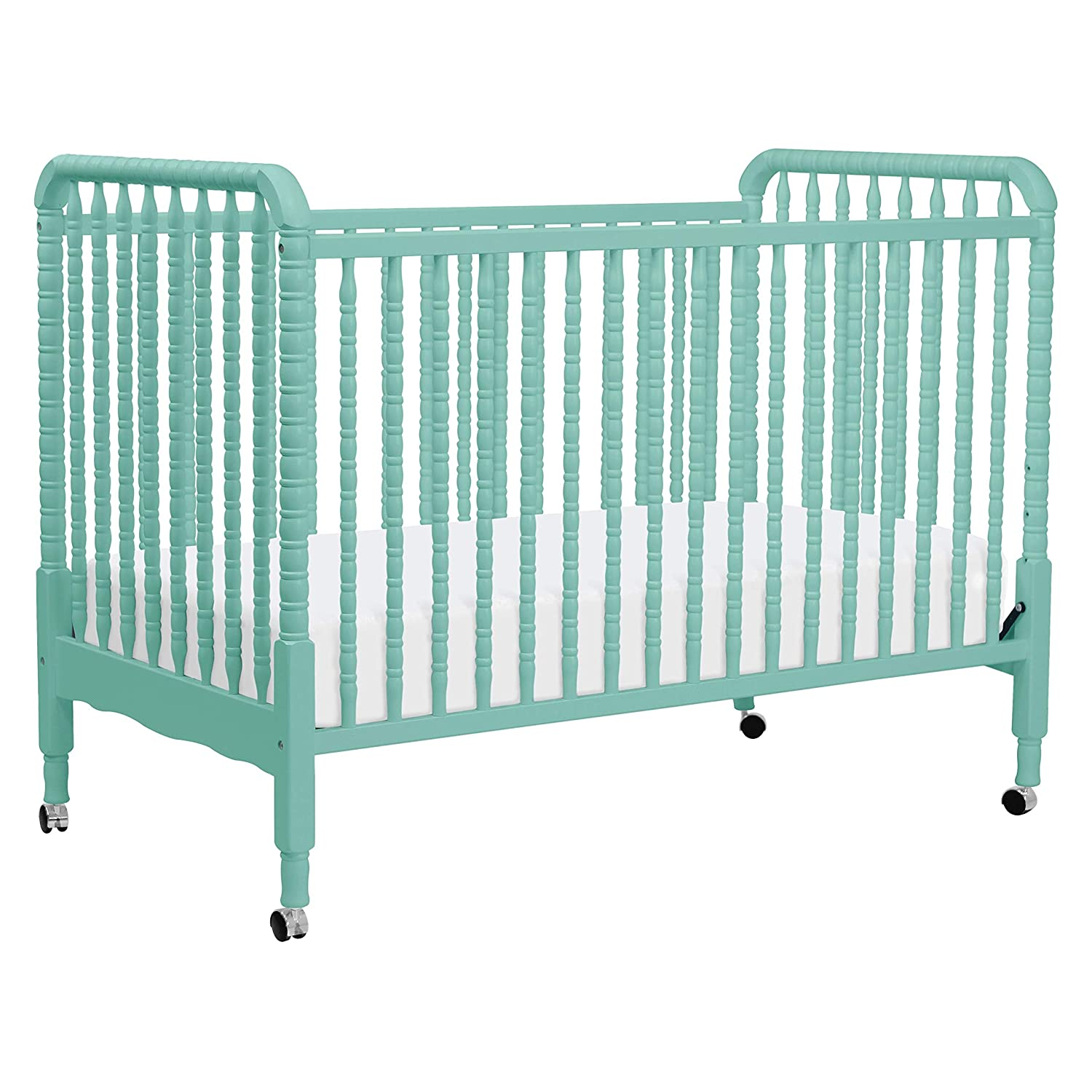 DaVinci Jenny Lind 3-in-1 Convertible Portable Crib in Lagoon – 4 Adjustable Mattress Positions, Greenguard Gold