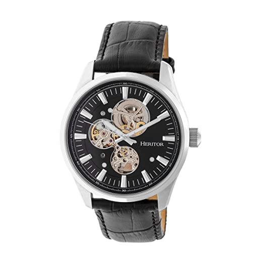 Heritor Stanley semi-skeleton reloj, negro/negro, herhr6504: heritor automatic: Amazon.es: Relojes