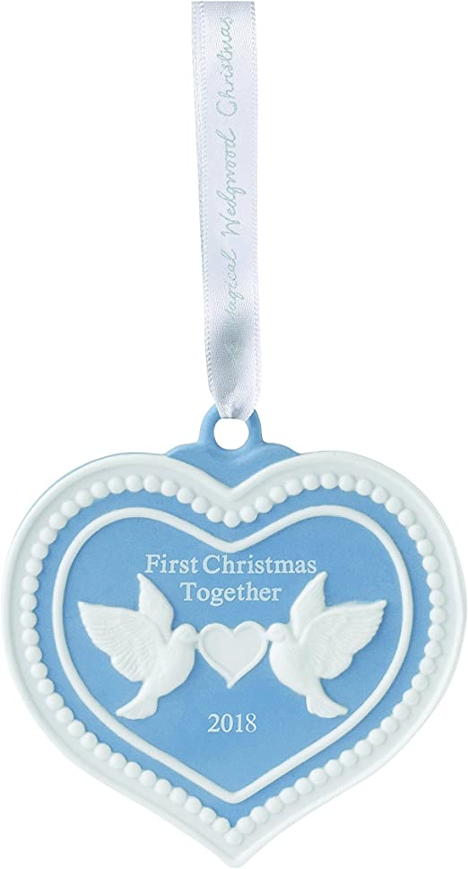 Wedgwood 40032823 2018 First Christmas Together Doves Heart Ornament Blue