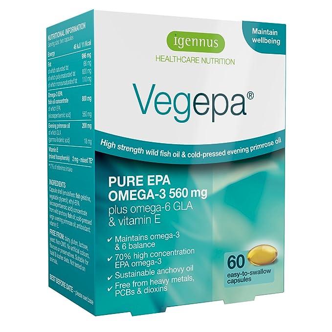 Vegepa Suplemento de Omega-3-6, 800mg de aceite de pescado silvestre con aceite de onagra de la Virgen, 560mg de Omega-3 EPA por porción, 60 cápsulas: ...
