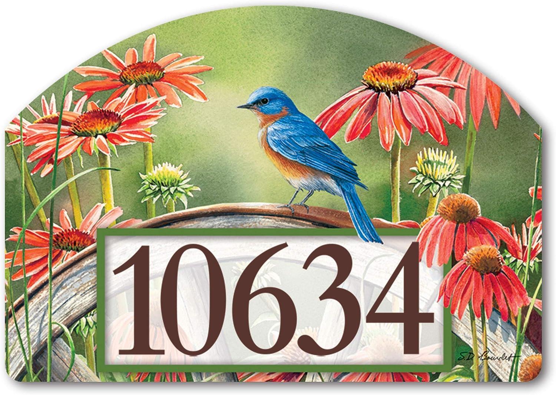 Yard Design Studio M Bluebird Visit Decorative Address Marker Yard Sign Magnet, Made in USA, Superior Weather Durability, 14 x 10 Inches