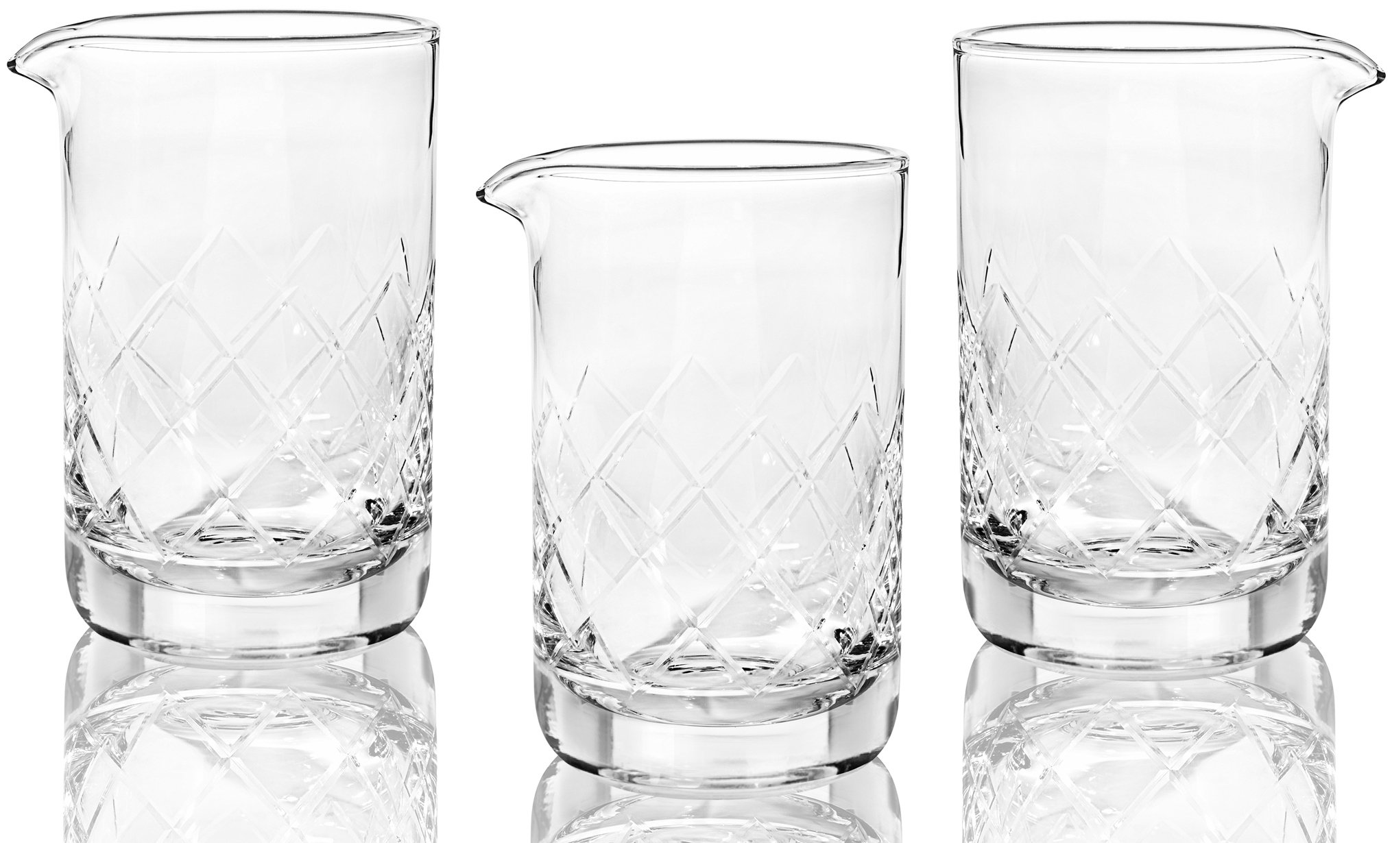 Crystal Cocktail Mixing Glass (Set of 3) - Thick Bottom 17oz 500ml Cocktail Glass - Choice for Amateurs & Pros - Ideal Gift