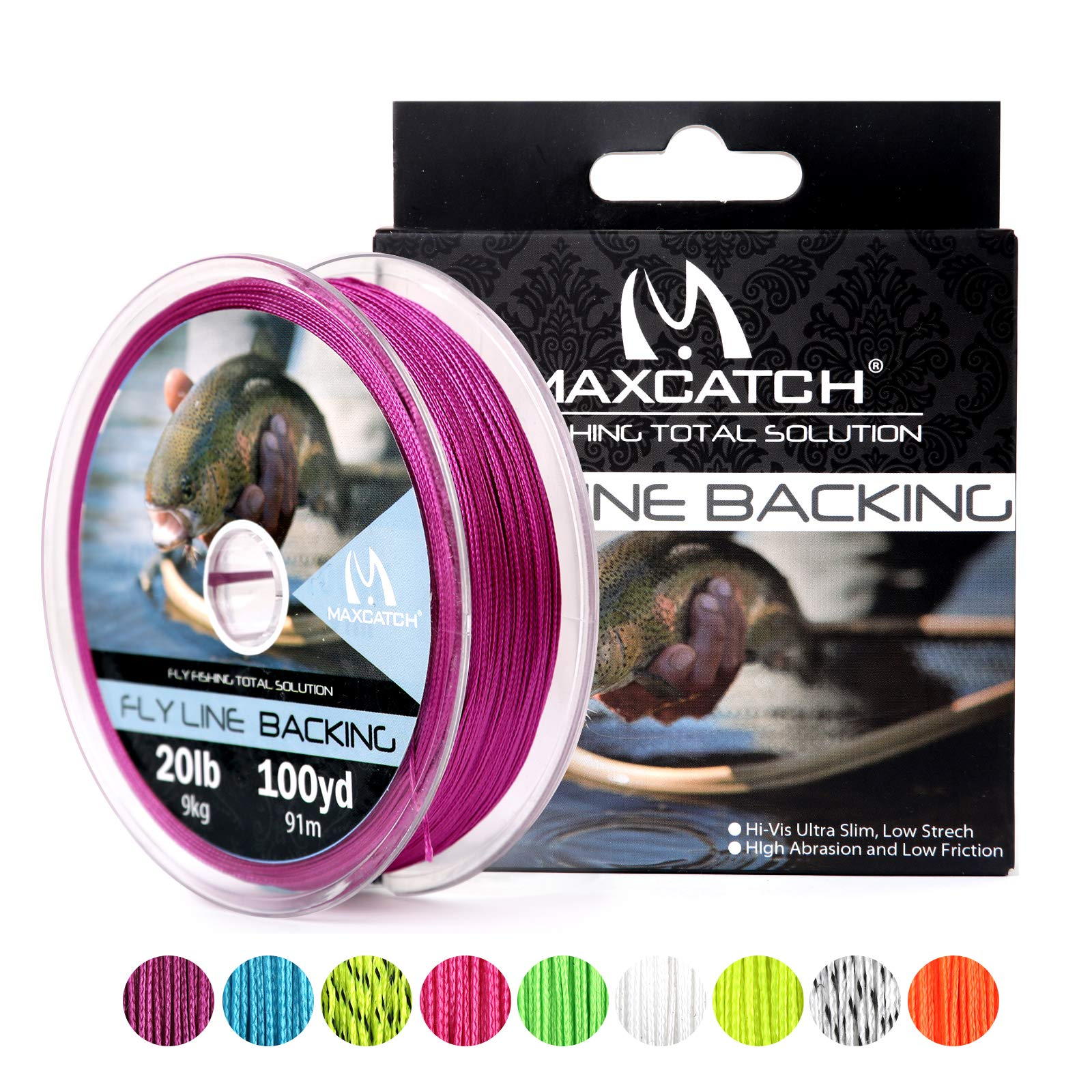 M MAXIMUMCATCH Maxcatch Braided Fly Line Backing for Fly Fishing 20/30lb(White, Yellow, Orange, Black&White, Black&Yellow) (Purple, 20lb,100yards) by M MAXIMUMCATCH