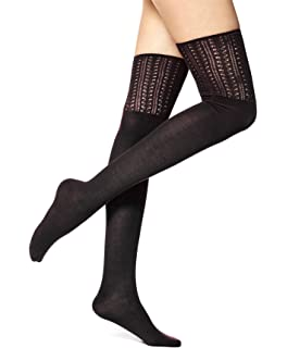 4db72b832cb84 HUE Women's Ribbed Over The Knee Socks, Black One Size at Amazon ...