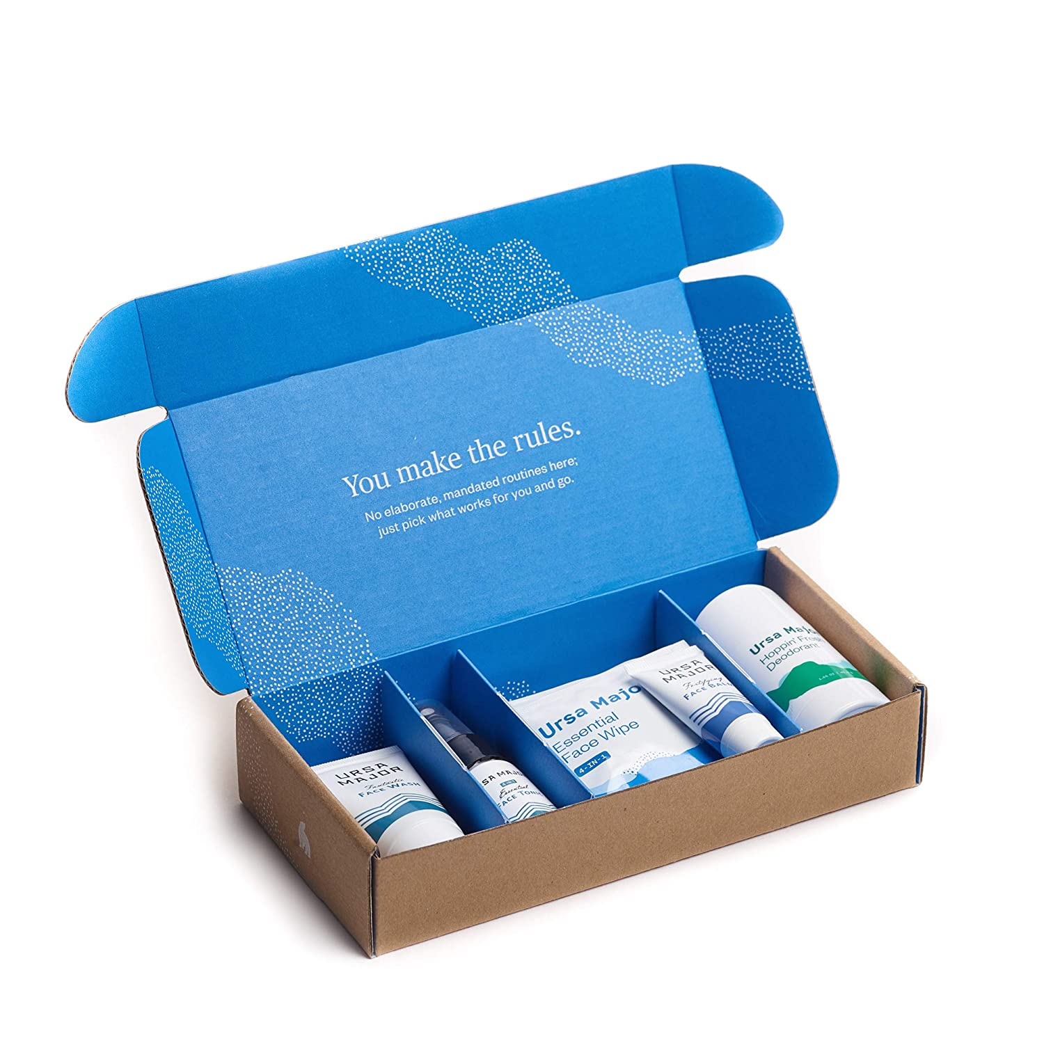 Ursa Major Bestsellers Trial Kit | Two-Week Supply of Natural Skincare Essentials | Face Wash, Face Toner, Face Wipes, Face Moisturizer and Deodorant
