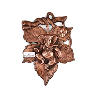 Collectible India God Ganesha On Leaf Metal Wall Hanging Sculpture | Lord Ganesh Idol Home Decor Ganpati Lucky Feng Shui Wall Art |