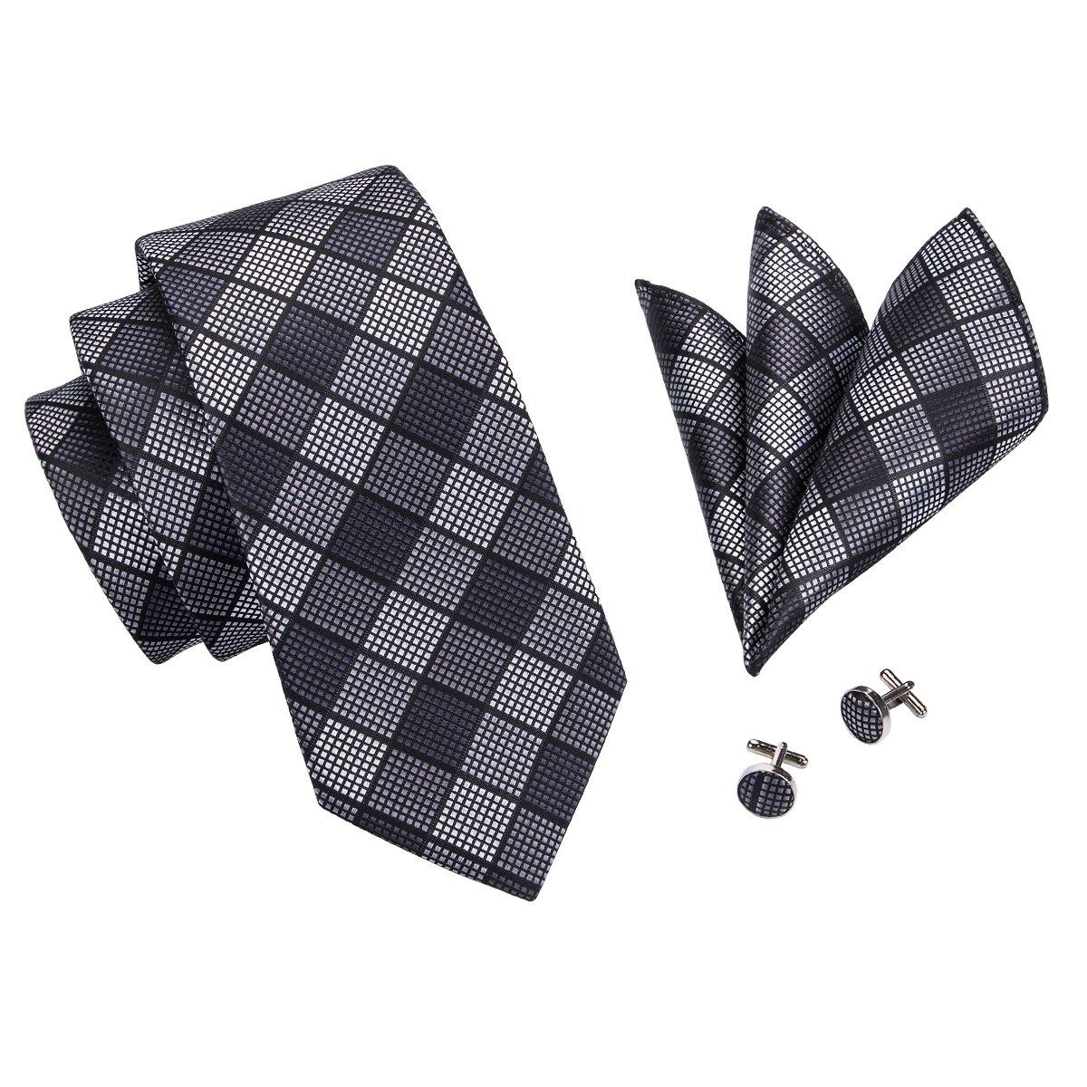 Hi-Tie Men Check Plaid Tie Necktie with Cufflinks and Pocket Square Tie Set 5K-MOKW-RXXB