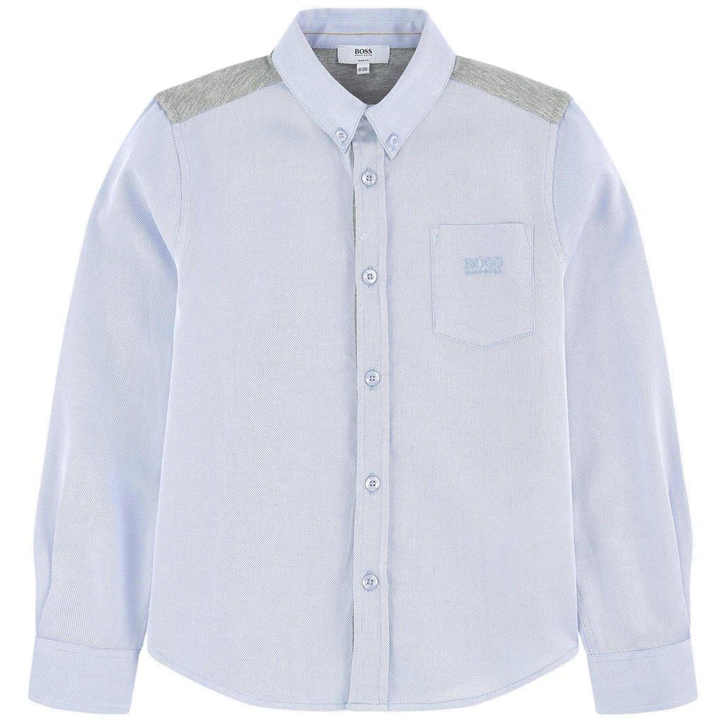 Hugo Boss Boys AW16 Light Blue Cotton Classic Dress Shirt Top 16 Years