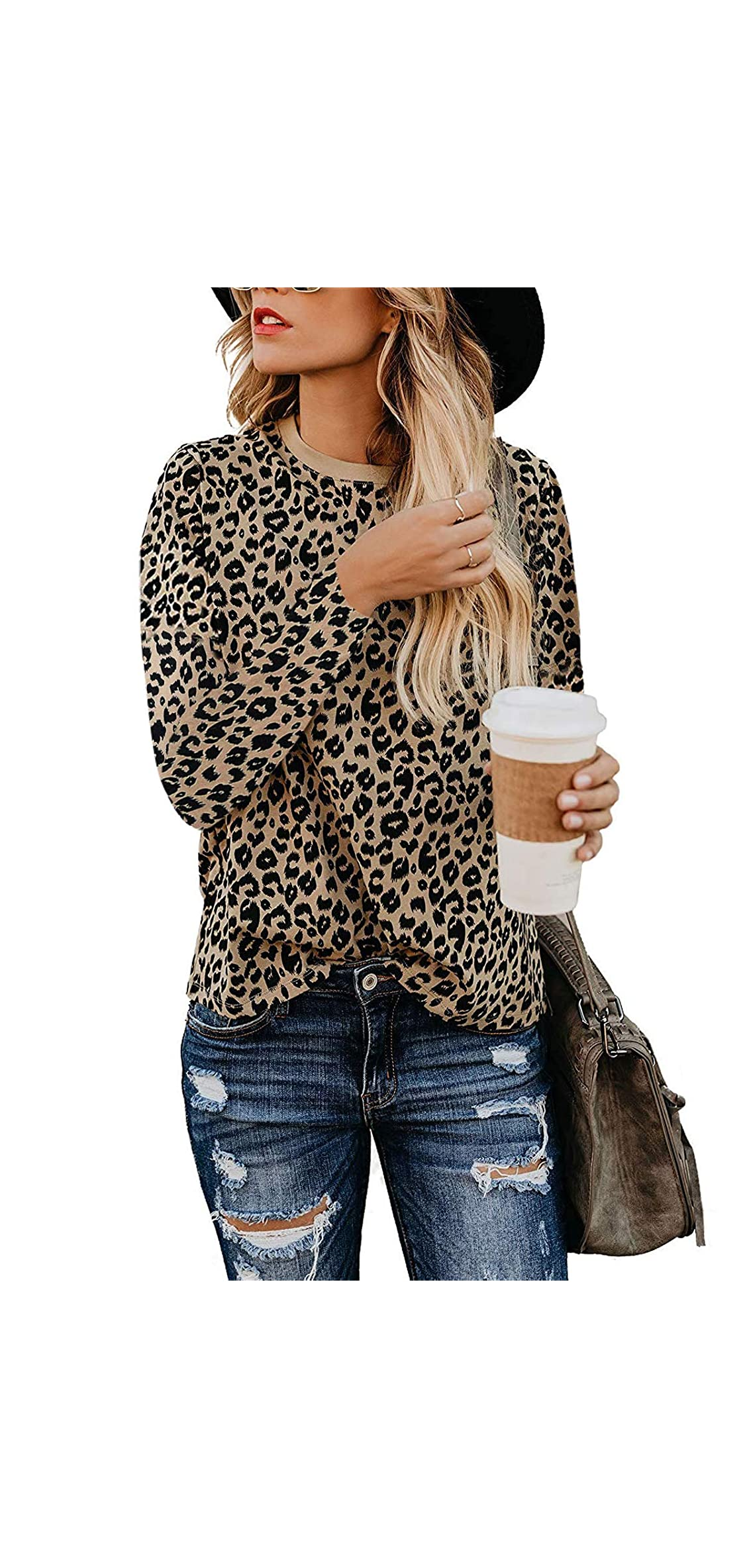 Womens T Shirts Leopard Print Long Sleeve Tops Casual
