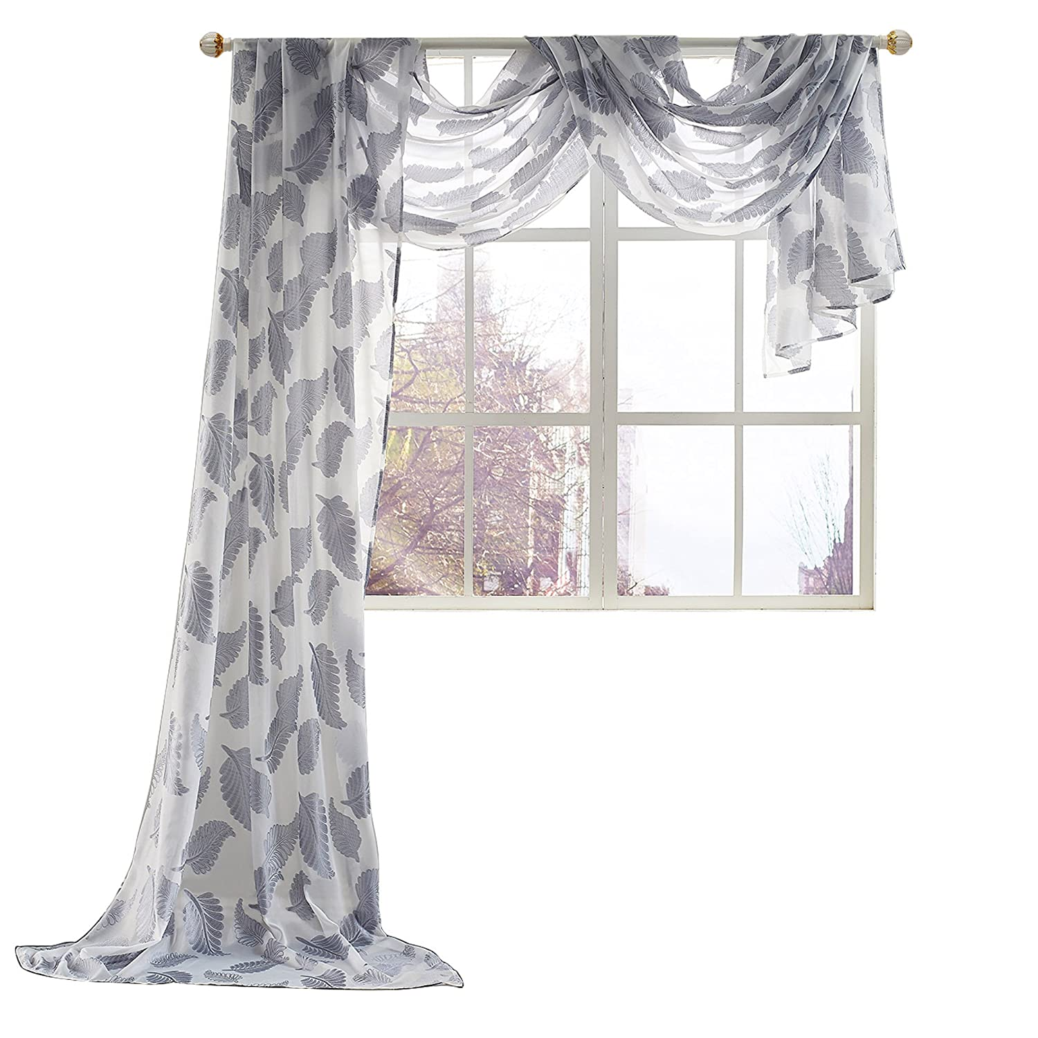 "KEQIAOSUOCAI Beautiful Leaves Embroidery Window Sheer Voile Scarf,1 Panel Curtain,52"" X 216"",Grey"