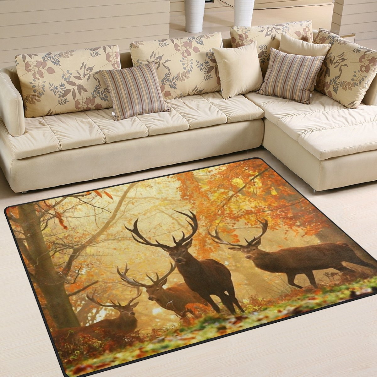 Naanle Animal Area Rug 5'x7', Deer in Autumn Forest Polyester Area Rug Mat for Living Dining Dorm Room Bedroom Home Decorative