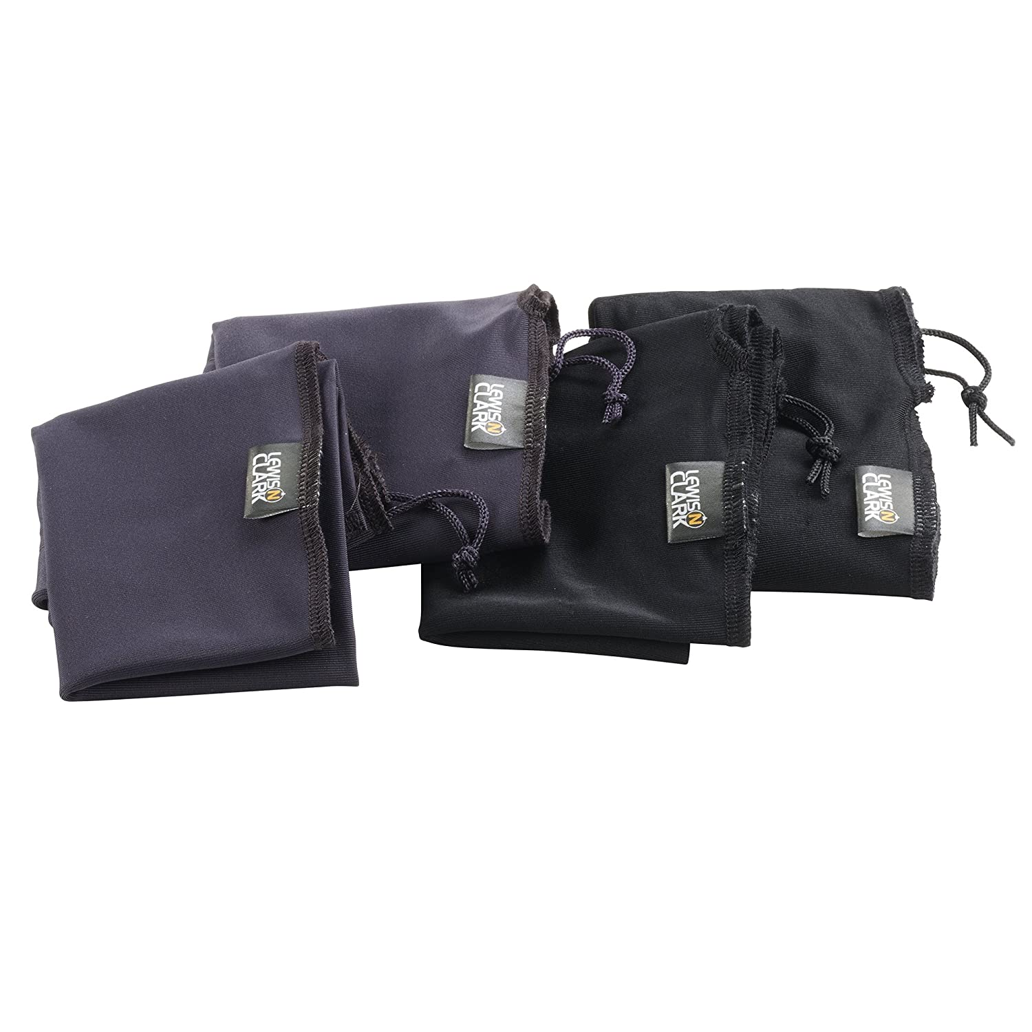 Lewis N. Clark Travel Shoe Bags with Drawstring Closures,Black/charcoal,One Size 169-Black/Purple-One Size LCI AM 169