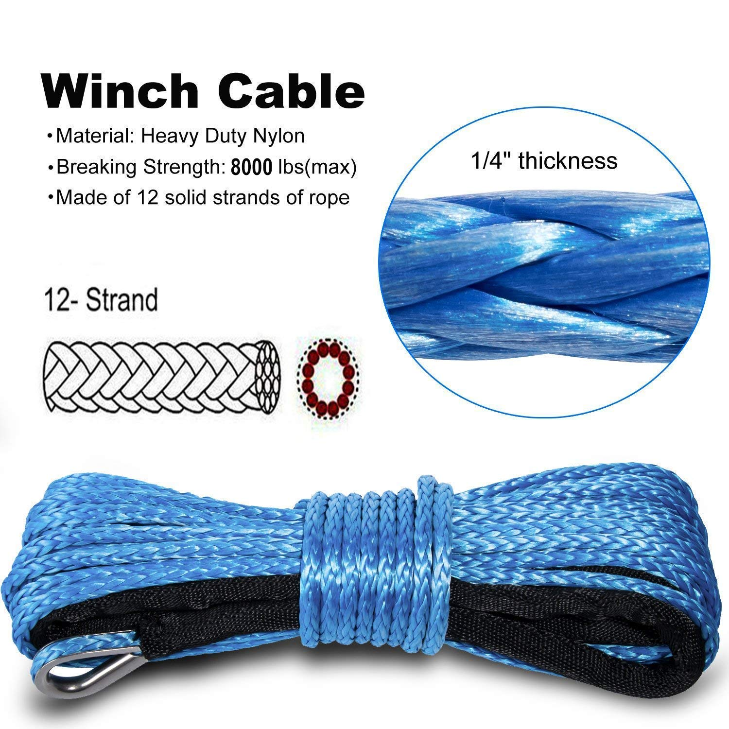 Yoursme Nylon Synthetic Winch Cable Rope with Sheath for SUV ATV UTV Winches Truck Boat Ramsey Car 1/4'' x 50'-8000LB+ Blue by Yoursme