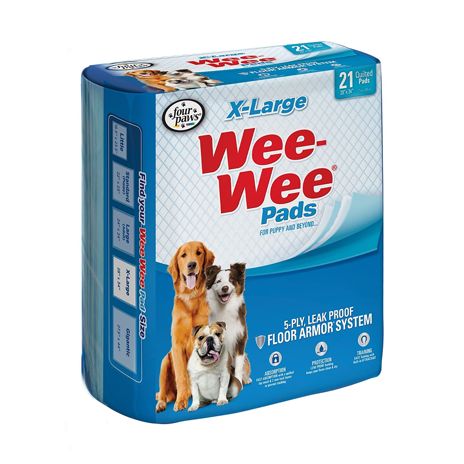 Four Paws 100524768 75-Count Wee-Wee Dog Training Pads, X-Large