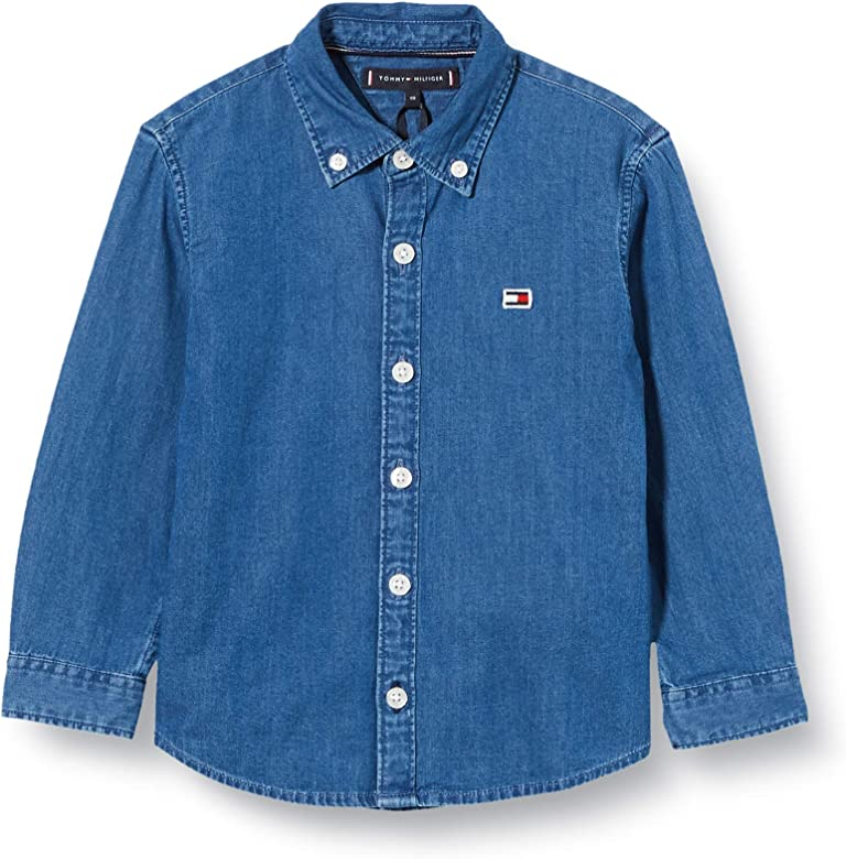 Tommy Hilfiger Shirt L/s Camisa, Azul (Denim Dark 01 1bj), 3-4 años (Talla del Fabricante: 3) para Niños: Amazon.es: Ropa y accesorios