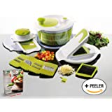 Salad Maker & Mandolin Set - Salad Spinner with 7 Interchangeable Stainless Steel Blades - Perpetual Peeler and eBook included