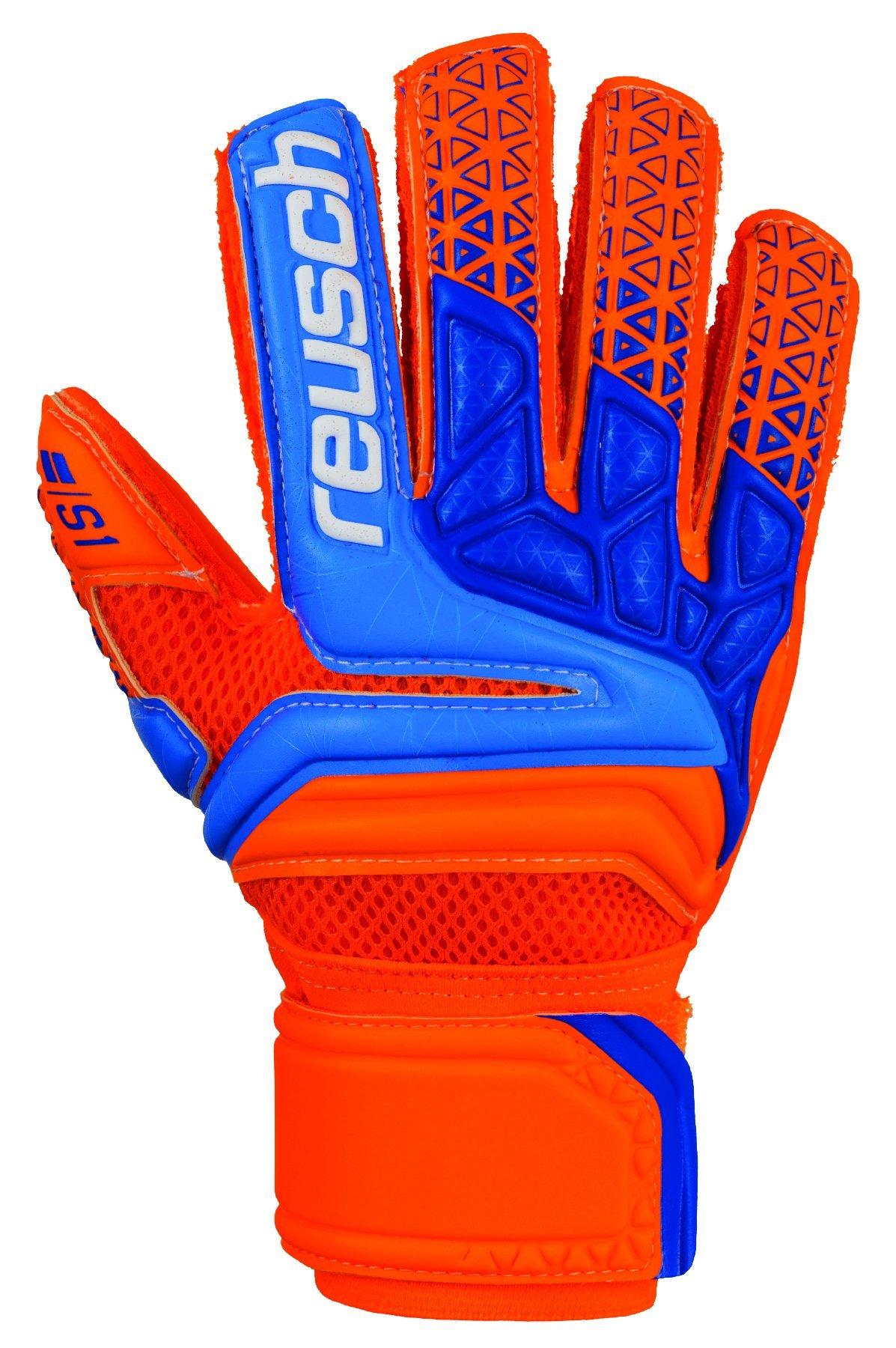 Reusch Soccer Prisma STF S1 Finger Support Goalkeeper Gloves, Size 7, Orange/Blue