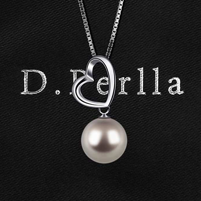 Silver Pearl Necklace for Women D.Perlla Loving Heart Pearl Jewellery Pendant Necklace with 18in Box Chain wzM0F