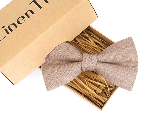 744dde552c7c Mocha color linen groomsmen bow ties for weddings available with matching pocket  square, light brown boys and toddler bow ties, boho wedding ideas, ...