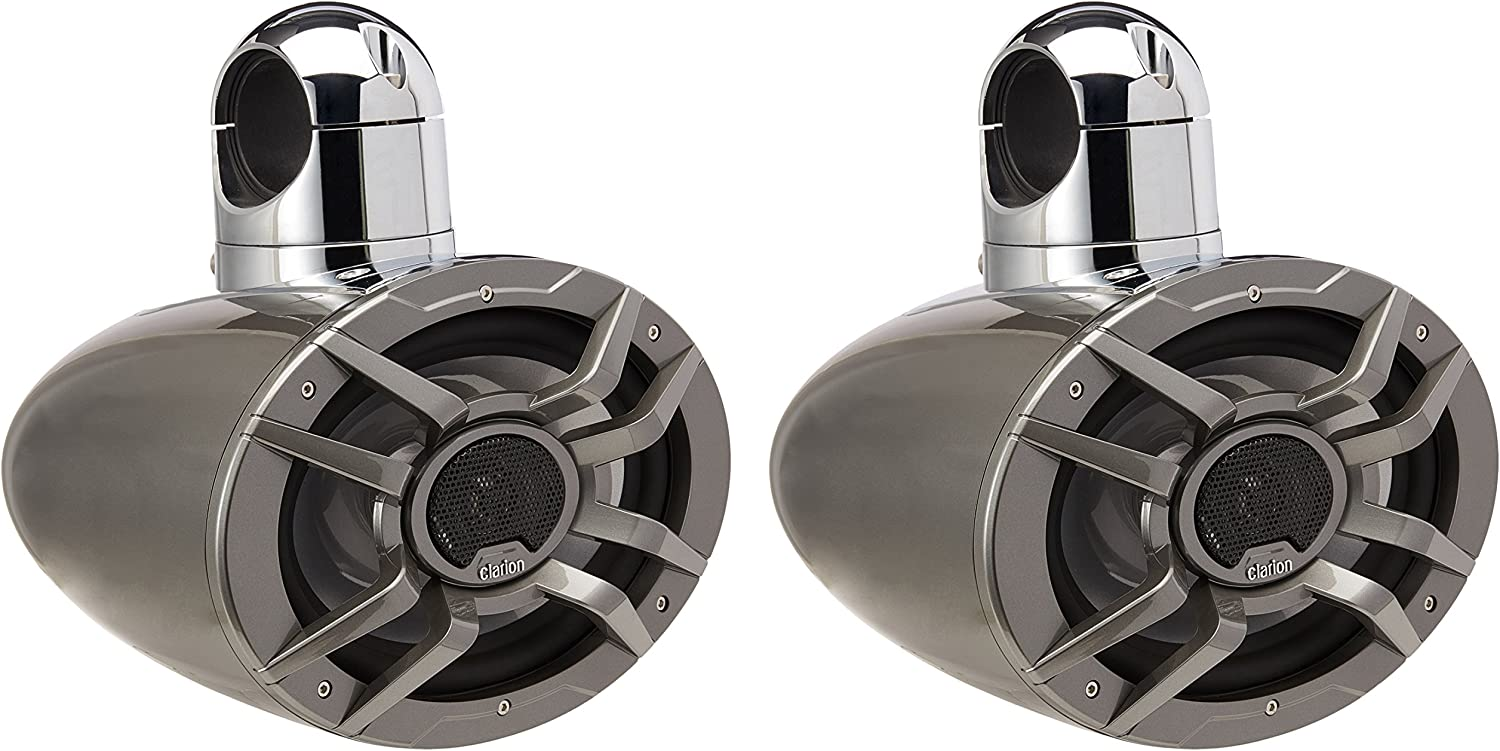 """Clarion Cm7123T 8/"""" X 12/"""" 2-Way Tower Speakers Pair Swiveling 200W Water"""