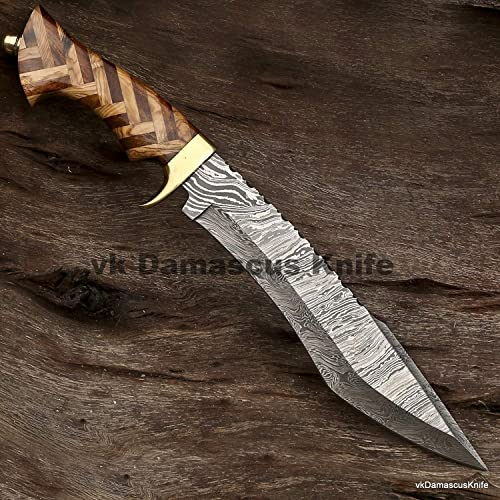 JNR Traders Handmade Damascus Steel Hunting Bowie Knife