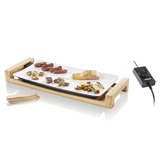 Princess 103030 Table Chef Pure – Plancha Elegante, Revestimiento Blanco de Cerámica, Estructura de Bambú