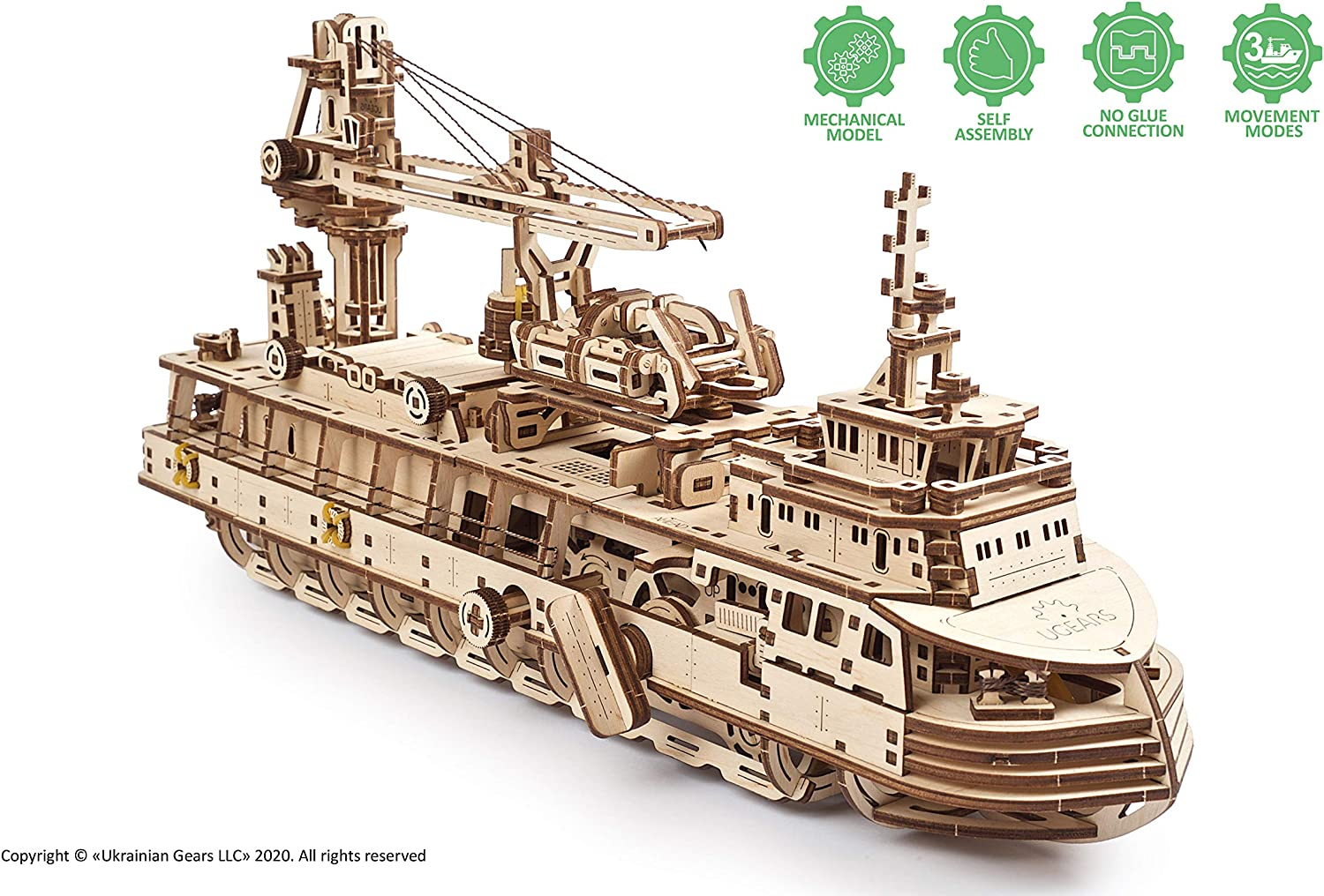 UGEARS 3D Puzzles Research Vessel - DIY Model Ship 3D - Exclusive Wooden Model Kits for Adults to Build - Unique and Creative Wooden Mechanical Models - Self Assembly Woodcraft Construction Kits