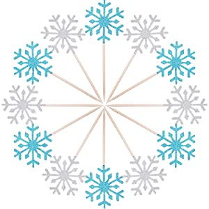 TOODOO Christmas Cake Decoration 60 Pack Snowflake Cupcake Toppers Glitter Snowflake Cake Topper Picks for Christmas Birthday Party Baby Shower Wedding Cake Decoration (Blue and Silver)